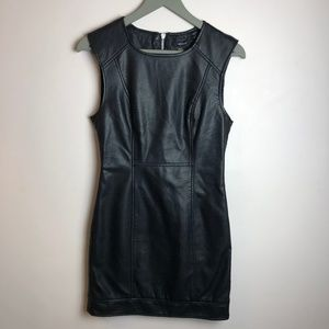 Forever 21 Black Leather Sheath Dress Small